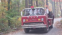 Fire truck rides through the campground